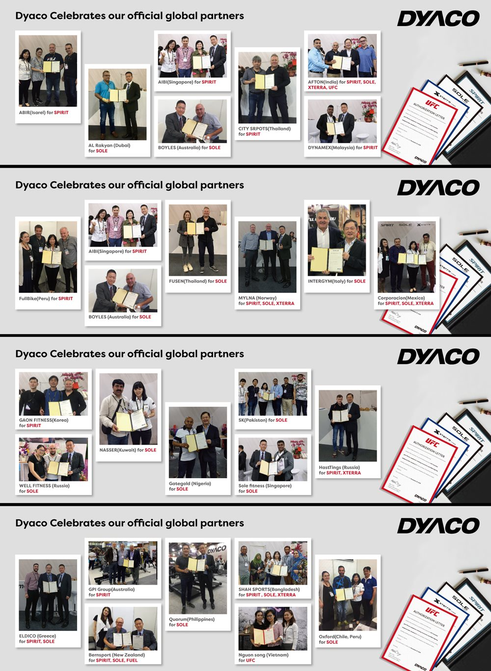Dyaco Celebrates and Congratulates their Official Global Partners.